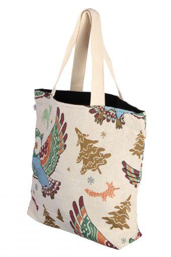 Ladies Owl Printed Bag - Cream - BG497-41046