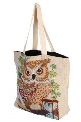 Ladies Owl Printed Bag - Cream - BG499-41052