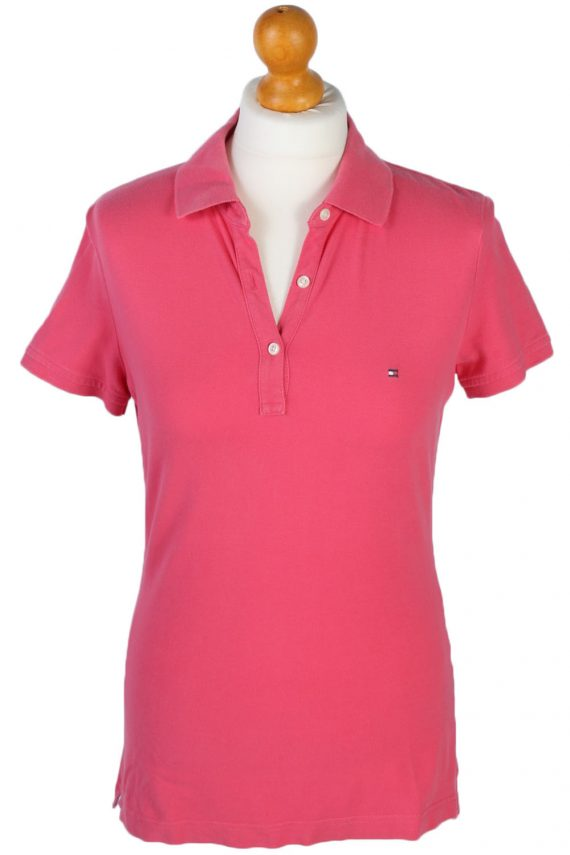 Womens Tommy Hilfiger Plain Polo Shirt - Pink - S -PT0765-0