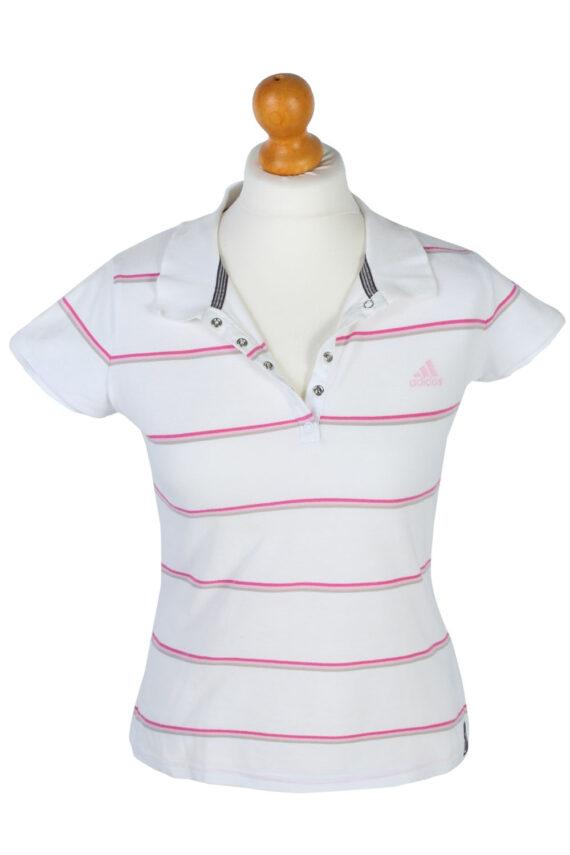 Mens Adidas Striped Polo Shirt - White - M -PT0788-0