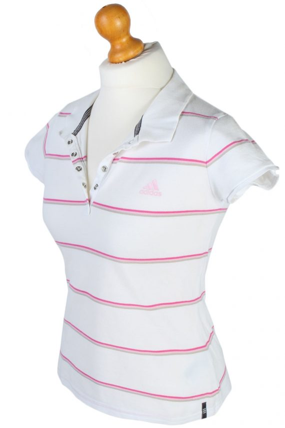 Mens Adidas Striped Polo Shirt - White - M -PT0788-44748