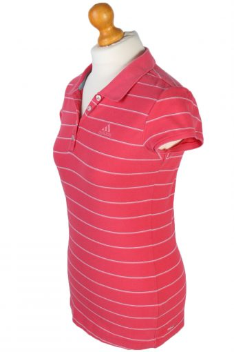 Womens Adidas Striped Polo Shirt - Pink - M -PT0789-44750