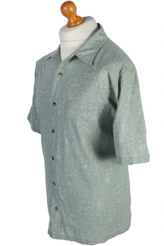 Croft & Barrow Floral Island Patterned Vintage Hawaiian Shirt - L Grey - SH2656-45653