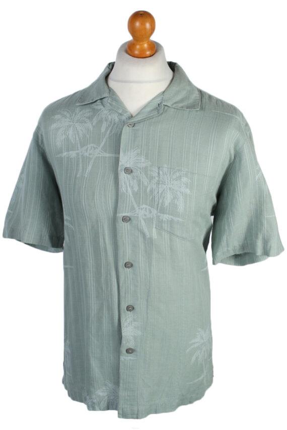 Solitude Palm Floral Patterned 80s 90s Shirt - M Mint - SH2669-0