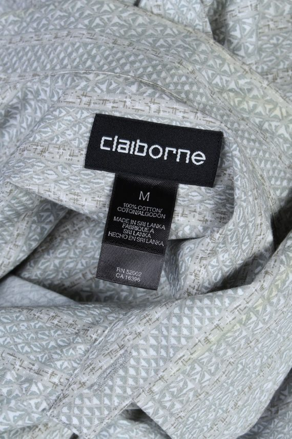 Claiborne Abstract Patterned 80s 90s Shirt - M Beige - SH2684-45946