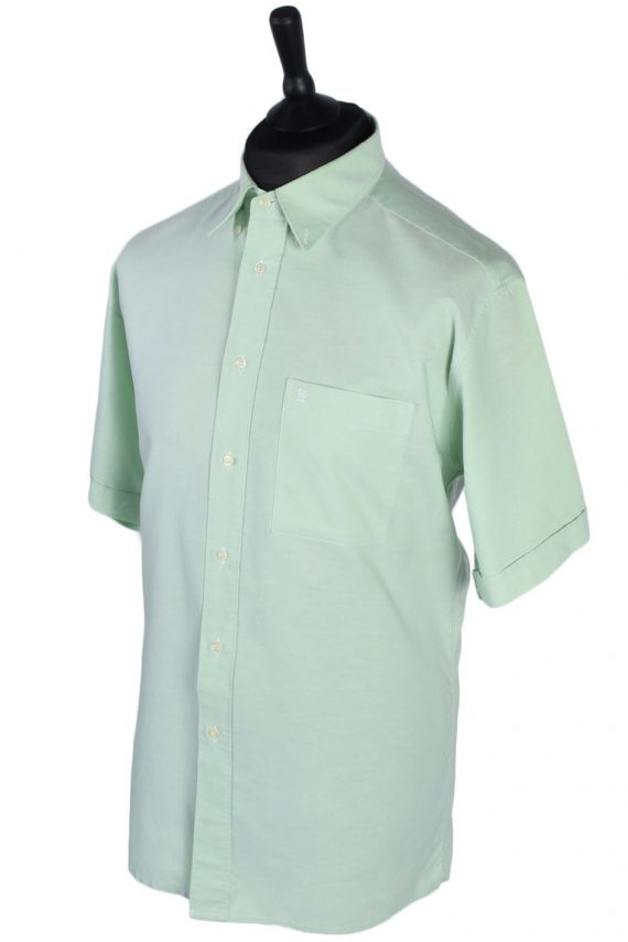 Pierre Cardin Vintage Plain Short Sleeve Shirt - M/L Green - SH2712-47813