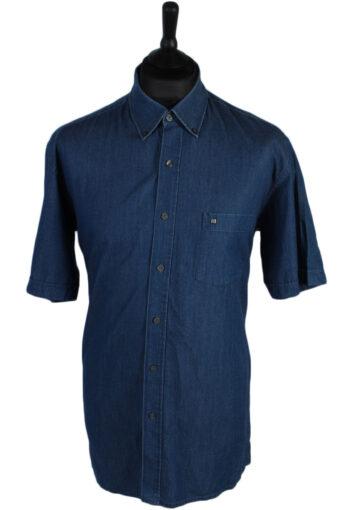 Pierre Cardin Short Sleeve Denim Shirt Navy L