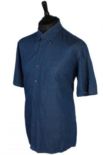 Pierre Cardin Vintage Plain Short Sleeve Denim Shirt - L Navy - SH2731-47868