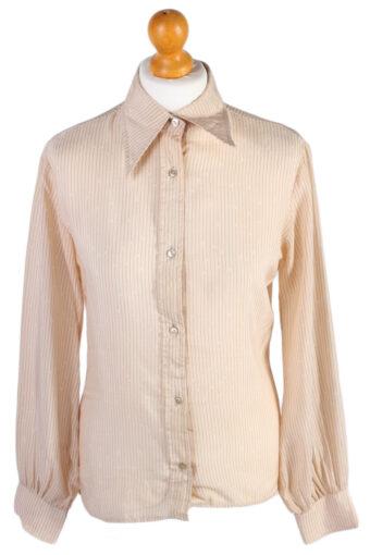 Women Blouse 70s Striped Design Cream L