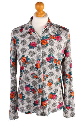 Womens Retro Shirt Patterned Blouse 90s White S