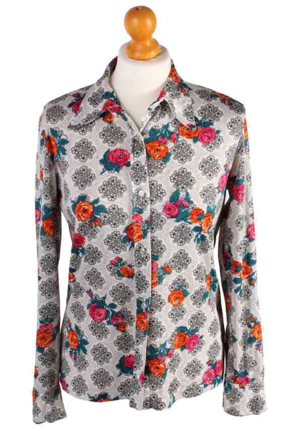 Womens Retro Vintage Patterned Blouse Shirt - M,L White - SH2779-0
