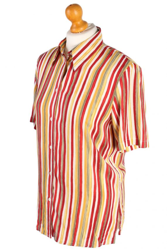 Women's Retro Vintage Short Sleeve Striped Blouse - S Multi - SH2790-49127