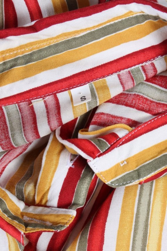 Women's Retro Vintage Short Sleeve Striped Blouse - S Multi - SH2790-49129