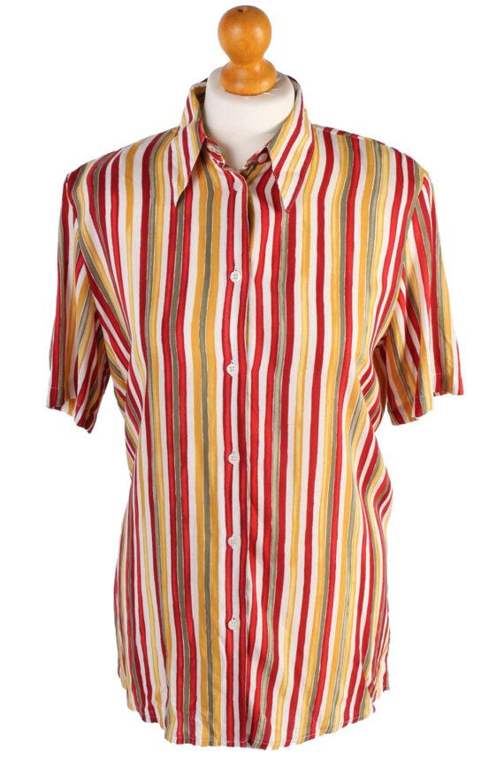 Women's Retro Vintage Short Sleeve Striped Blouse - S Multi - SH2790-0