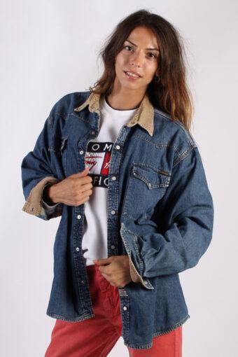 90s Denim Jacket Blanket Inner Dark Blue L