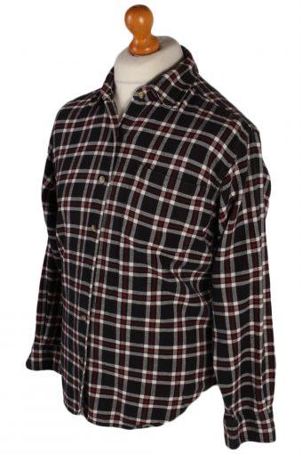 Vintage Scenic Checked Flannel Shirt - M Black - SH2873-52658