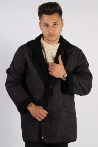 Vintage Barbour Long Quilt Jacket – Chest:47 Navy