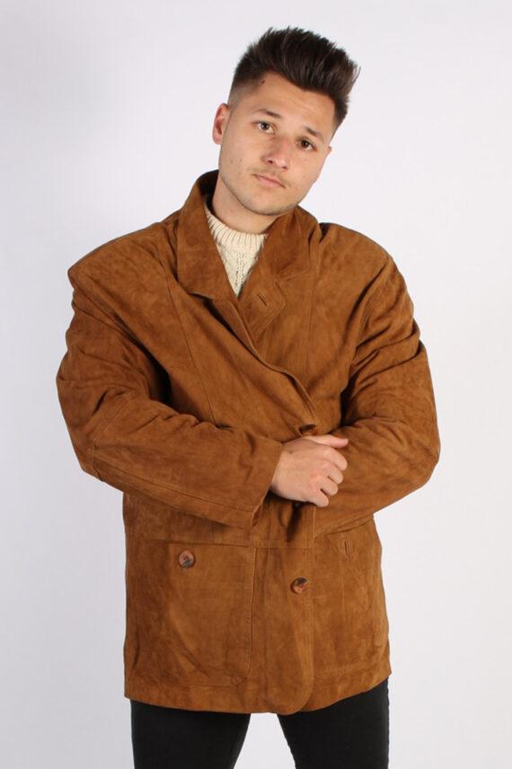 Vintage Podleyski Matte Suede Coat Chest:49 Brown -C566-0