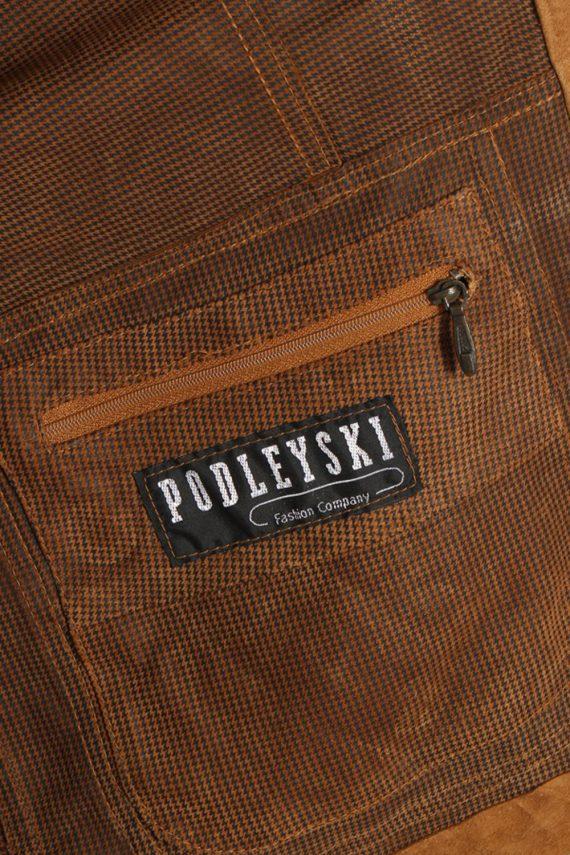 Vintage Podleyski Matte Suede Coat Chest:49 Brown -C566-54370