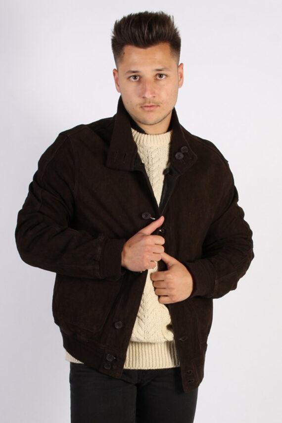 Vintage Genuine Matte Suede Coat Chest:45 Brown -C579-0