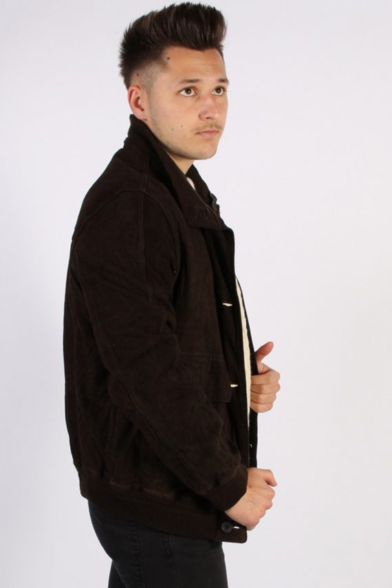 Vintage Genuine Matte Suede Coat Chest:45 Brown -C579-54420