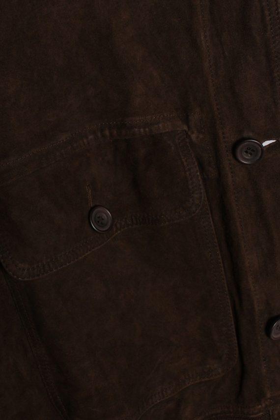 Vintage Genuine Matte Suede Coat Chest:45 Brown -C579-54421