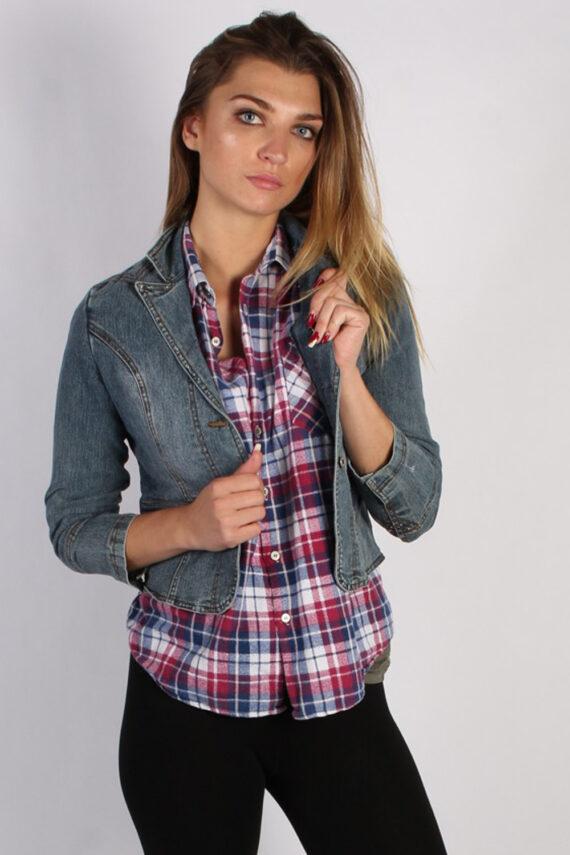 Vintage One Tuff Babe Womens Stretch Denim Jacket XL Navy -DJ1288-0