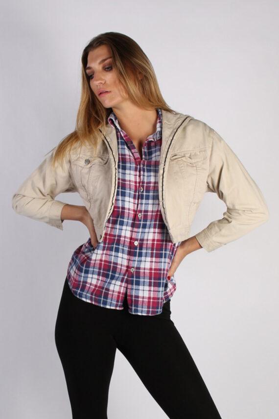 Vintage Cimarroon Womens Hoodie Denim Jacket M Beige -DJ1339-0