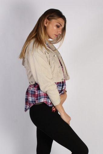 Vintage Cimarroon Womens Hoodie Denim Jacket M Beige -DJ1339-53974