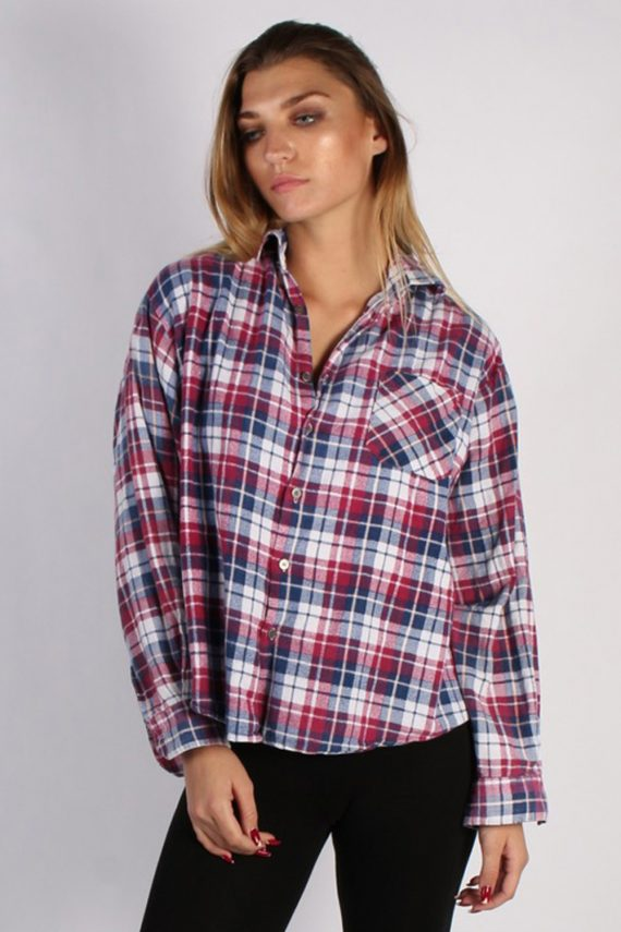 Vintage Unisex Checked Flannel Shirt - M , L Multi - SH2903-0