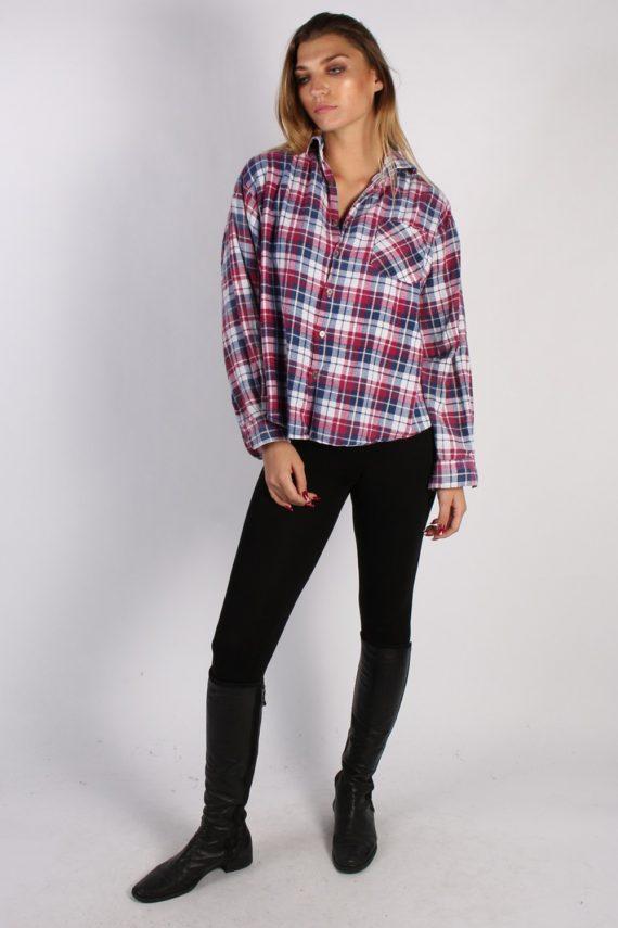 Vintage Unisex Checked Flannel Shirt - M , L Multi - SH2903-52903