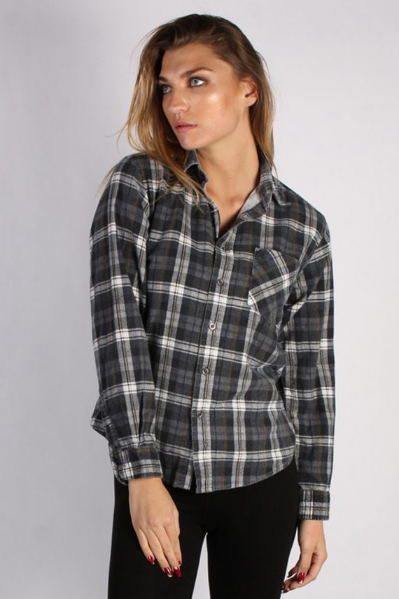 Vintage Portonova Checked Flannel Unisex Shirt - M Grey - SH2905-0