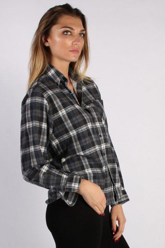 Vintage Portonova Checked Flannel Unisex Shirt - M Grey - SH2905-52914