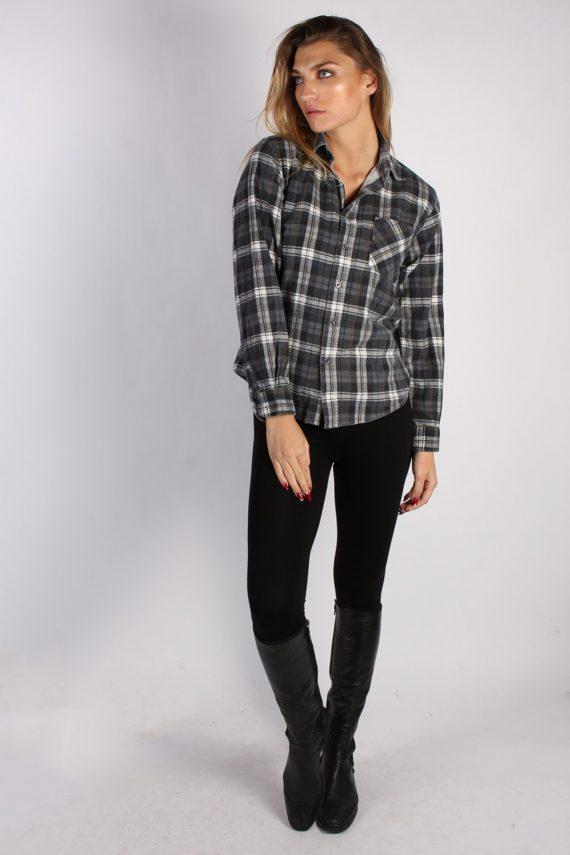 Vintage Portonova Checked Flannel Unisex Shirt - M Grey - SH2905-52912
