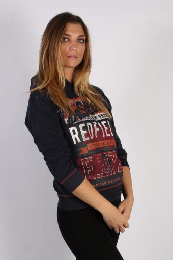 Vintage Here + There Red Field Unisex Hoodie M Navy -SW1683-53530