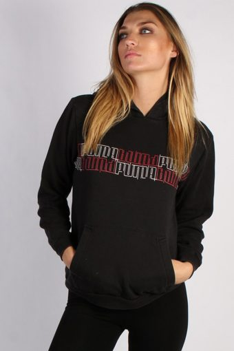 Puma Hoodie Sweatshirt 80s Black M