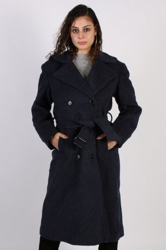 Vintage Other Brands Trench Long Coat Bust: 40 Navy -C623-56894