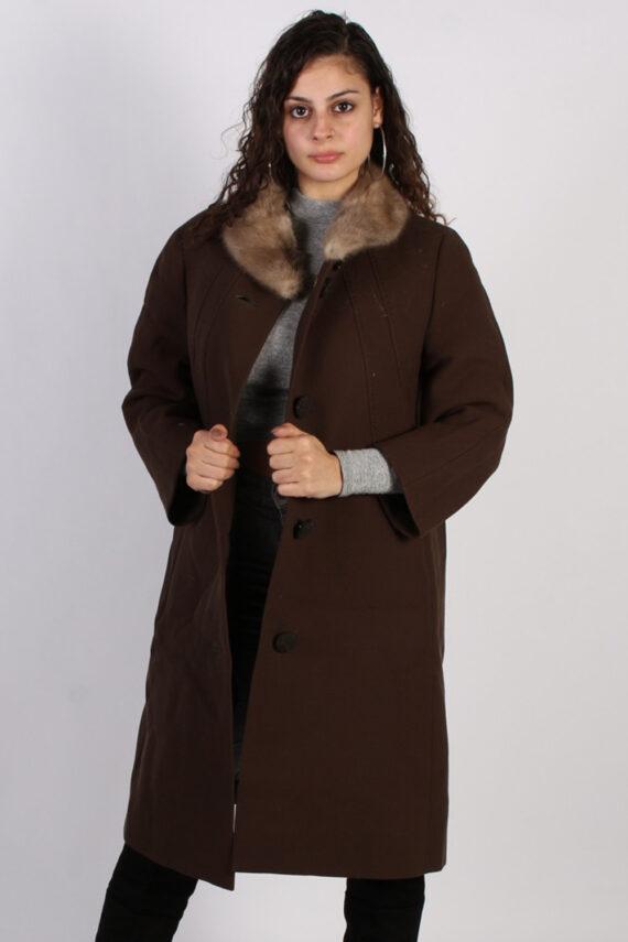 Vintage Hucke Long Fur Collar Coat Bust: 41 Brown -C616-0