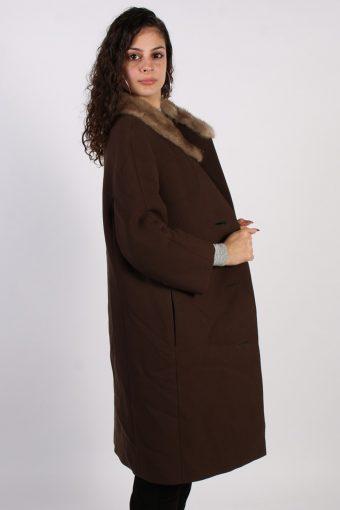 Vintage Hucke Long Fur Collar Coat Bust: 41 Brown -C616-56867