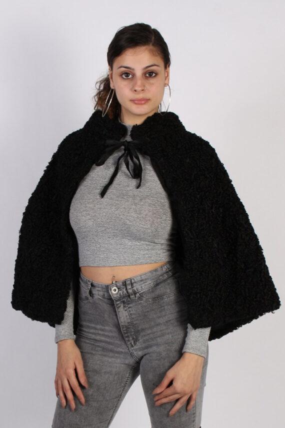 Vintage Poncho Faux Fur Coat Bust: One Size Black -C639-0