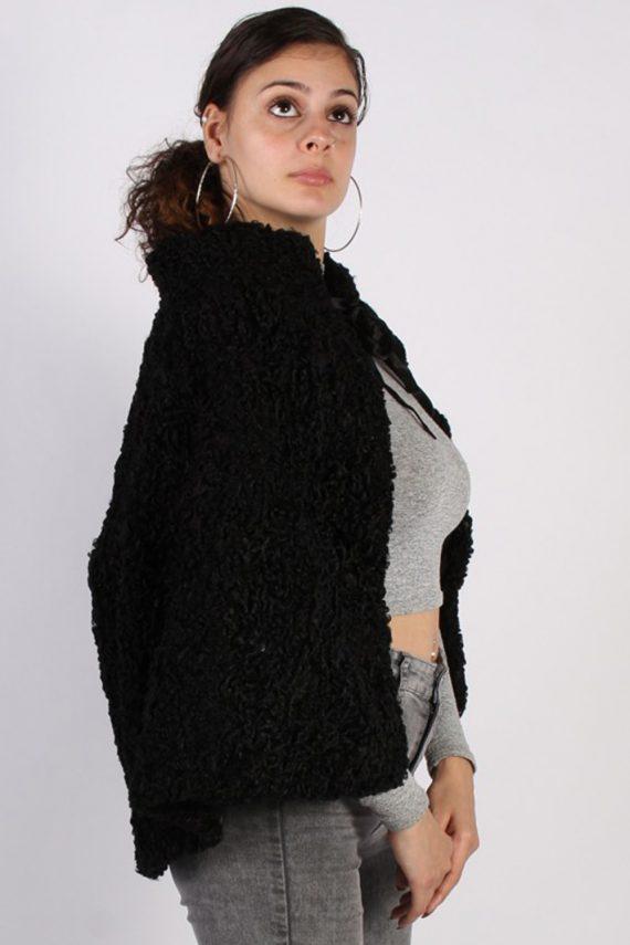 Vintage Poncho Faux Fur Coat Bust: One Size Black -C639-56963