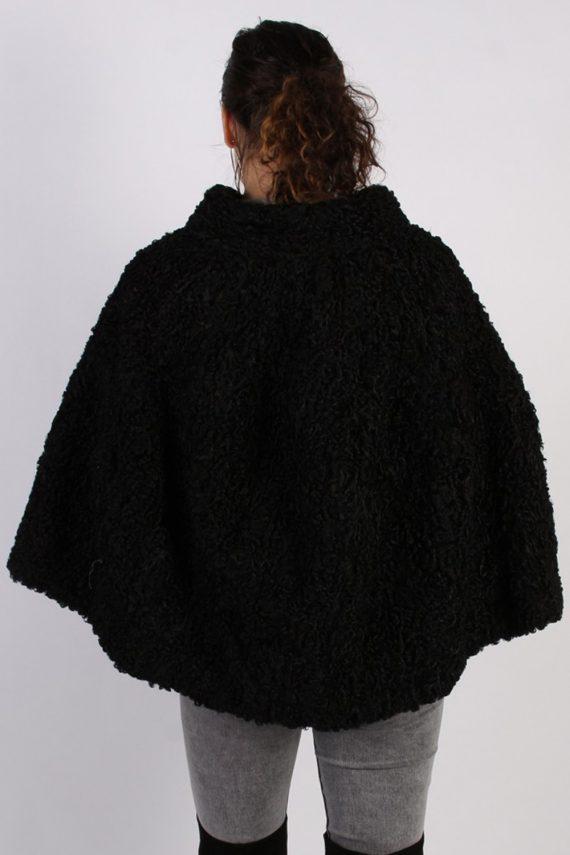 Vintage Poncho Faux Fur Coat Bust: One Size Black -C639-56964