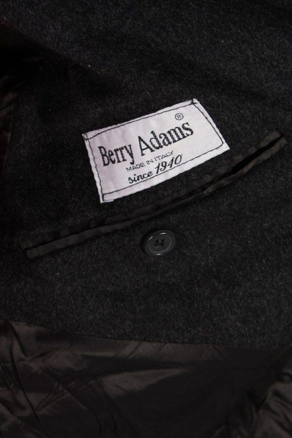 Vintage Berry Adams Italian Jacket Coat Chest:46 Black -C802-69365