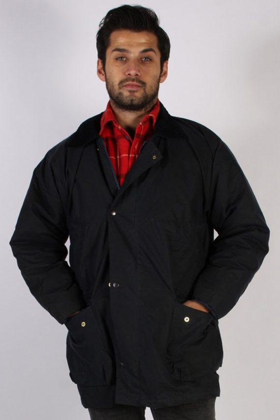 Vintage Royal Paddock Retro Waxed Coat Jacket Chest:48 Navy -C812-0