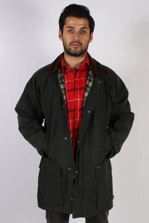 Vintage Oxford Retro Waxed Coat Jacket Chest:48 Green -C813-0
