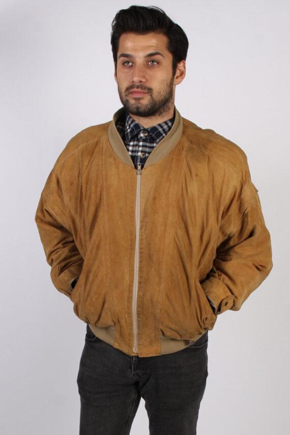 Vintage M. Flues Suede Leather Coat Jacket Chest:52 Brown -C881-0