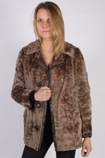 Vintage Ruhl Pelz Real Fur Womens Coat Jacket  Bust:44 Beige