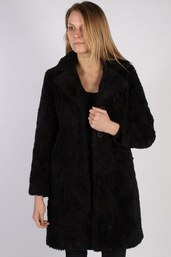 Vintage Y.O.U. Faux Fur Womens Coat Jacket Bust:36 Black -C940-0