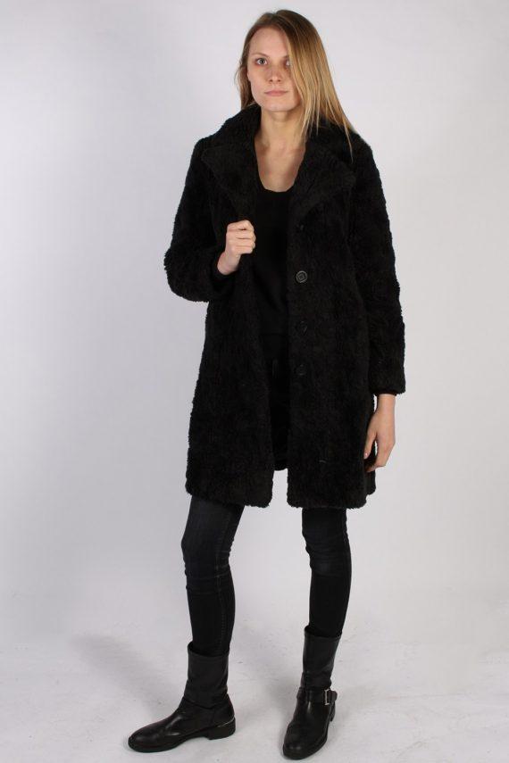 Vintage Y.O.U. Faux Fur Womens Coat Jacket Bust:36 Black -C940-70038