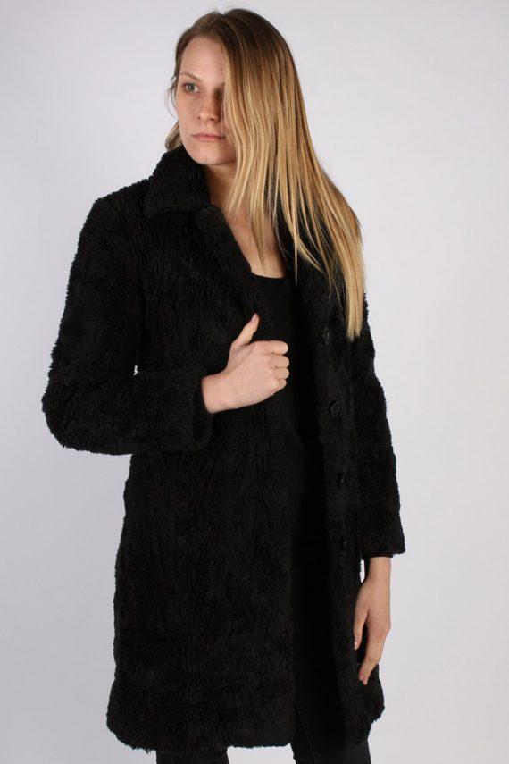 Vintage Y.O.U. Faux Fur Womens Coat Jacket Bust:36 Black -C940-70039